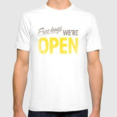 Free Hugs We're Open Mens Fitted Tee White SMALL