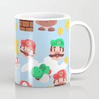 super mario Mugs featuring Super Mario by Clef