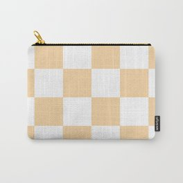Large Checkered - White and Sunset Orange Carry-All Pouch