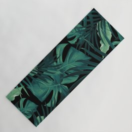 Tropical Jungle Night Leaves Pattern #1 #tropical #decor #art #society6 Yoga Mat