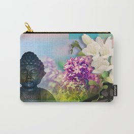 Colorful Buddha & Floral Collage Carry-All Pouch