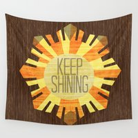 the shining Wall Tapestries featuring Baby Keep Shining by Bunhugger Design