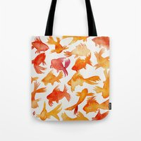 goldfish Tote Bags featuring Goldfish by Cat Coquillette