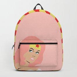 woman of wonder pink hair Backpack