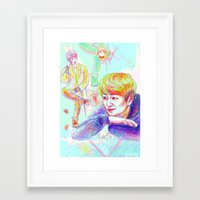 shinee Framed Art Prints featuring SHINee Onew by sophillustration