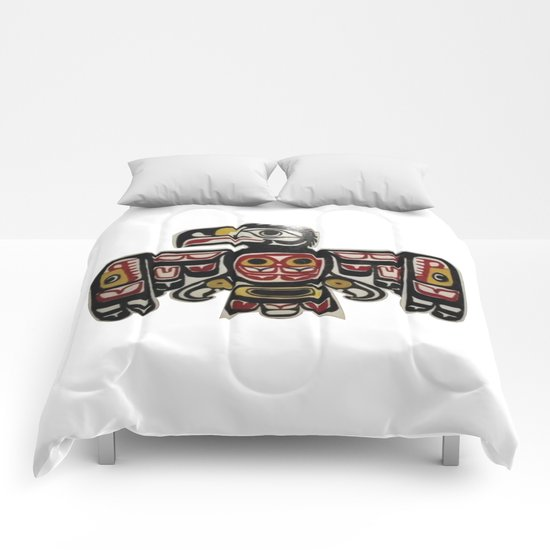 American Native Art Cut In Wood No. 6 Comforters