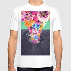 Volcano flower MEDIUM White Mens Fitted Tee