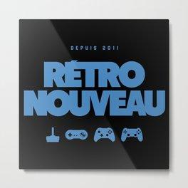 Rétro Nouveau (Bleu) Metal Print
