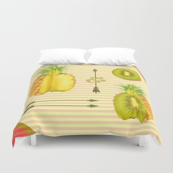 what if a pineapple fall in love with a kiwi ? Duvet Cover