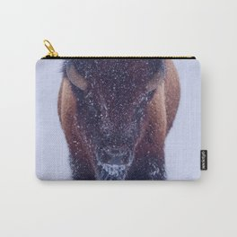 Bison Moving Through the Snow in Yellowstone National Park Carry-All Pouch