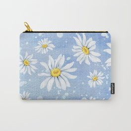 Spring Daisies On Sky Blue Watercolour Carry-All Pouch