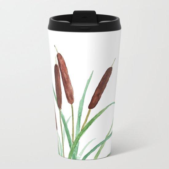 cattails plant Metal Travel Mug