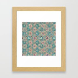 Lotus flower - pistachio green woodblock print style pattern Framed Art Print