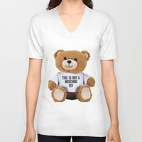 moschino V-neck T-shirts featuring TEDDY BEAR PARFUM MOSCHINO by Claudio Velázquez