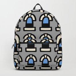 New York Windows Pattern 261 Gray and Blue Backpack