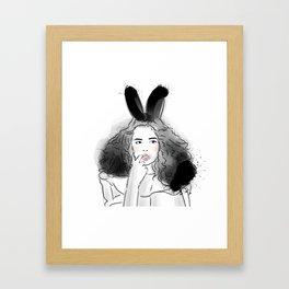 Fashionable easter bunny girl Framed Art Print