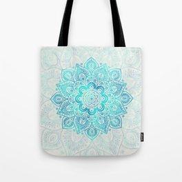 Turquoise Lace Mandala Tote Bag
