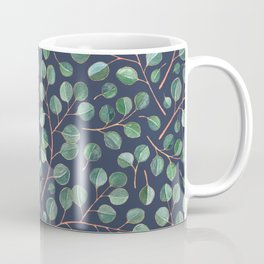 Simple Silver Dollar Eucalyptus Leaves on Navy Coffee Mug