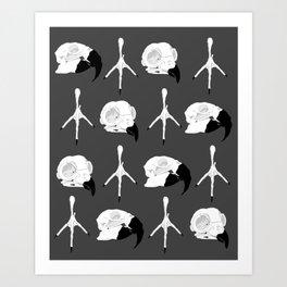 Birdskull pattern Black & White Art Print