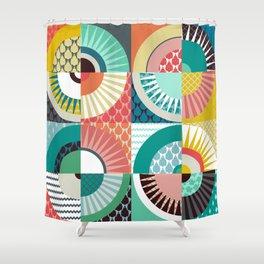 llama geo squares Shower Curtain