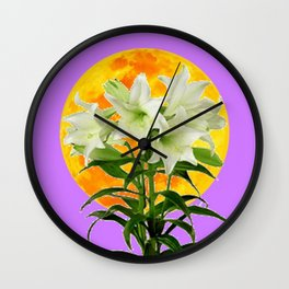 EASTER LILIES ON LILAC GOLDEN MOON Wall Clock