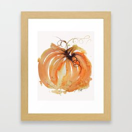 Abstract Watercolor Pumpkin Framed Art Print