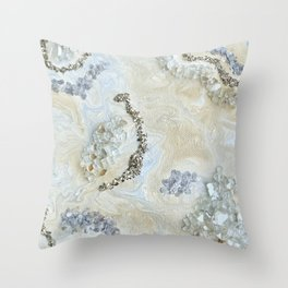 Neutral Glam Abstract Agate Geode Crystal Painting Throw Pillow