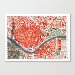 Seville city map classic Canvas Print