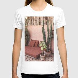Tropical Terrace Marrakech Photo Art Print   Pink Rooftop Cactus Plants   Morocco Travel Photography T-shirt