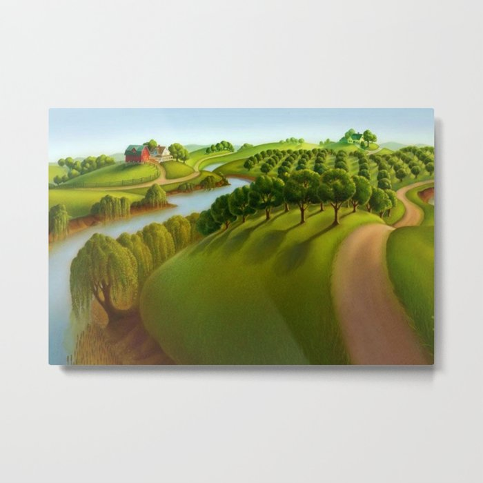 Classical Masterpiece 'the Plains' By Grant Wood Metal Art Print by Jeanpaul Ferro - LARGE