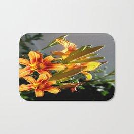 Orange Day Lilies & Buds  Flower Garden Bath Mat