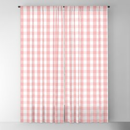 Large Lush Blush Pink and White Gingham Check Blackout Curtain
