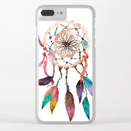 Native American Boho Vibrant Watercolor Beaded Dreamcatcher Clear iPhone Case