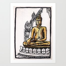 Bangkok : Golden Buddha in Wat Traimit Art Print