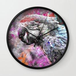 artsy parrot mixed media art Wall Clock