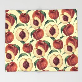 Watercolor sweet peaches Throw Blanket