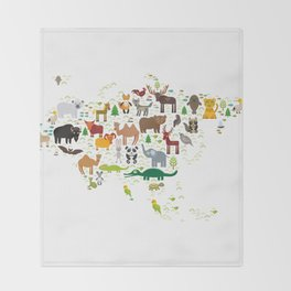 Eurasia animal bison fox wolf horse camel seal Walrus goats Polar bear Eagle bull raccoon snake bear Throw Blanket
