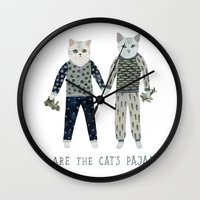 toddler Wall Clocks featuring You are the Cat's Pajamas by Yuliya