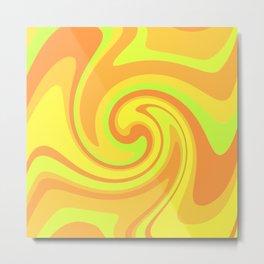 Neon Citrus Swirl Metal Print