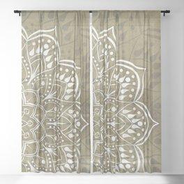 Warm Dark Beige Boho Chic Mandala Art Sheer Curtain
