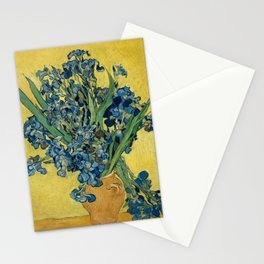 Still Life: Vase with Irises Against a Yellow Background Stationery Cards