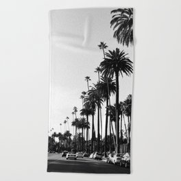 Los Angeles Black and White Beach Towel