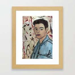 Nail Polish Painting of Shawn Mendess Framed Art Print