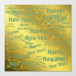 blue Colorful design happy new year text in gold, festive, elegant gift for anyone in the family Canvas Print
