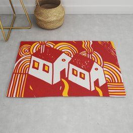 Twin  Houses at Winter in Red and Orange Rug