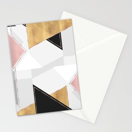 Stylish Gold and Rose Pink Geometric Abstract Design Stationery Cards