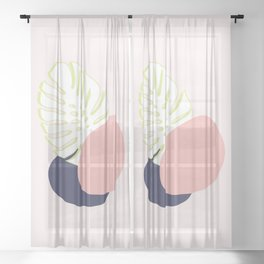 Spring Monstera #society6 #spring Sheer Curtain