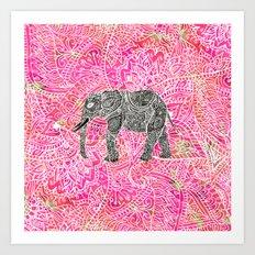 Pink Safari | Tribal Paisley Elephant Henna Pattern Art Print
