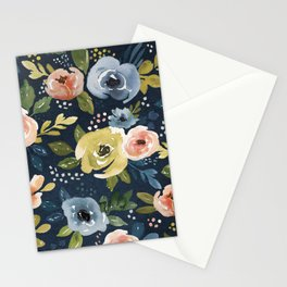Nightfall Floral Print, Watercolor Flowers, Navy Blue, Salmon Pink, Mustard Yellow Stationery Cards