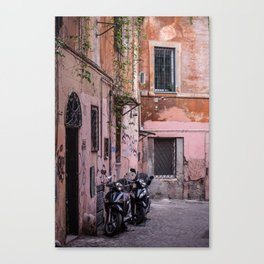 Motorbikes on the Streets of Rome, Italy Canvas Print